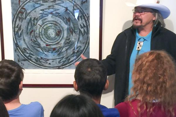George Blake Discusses His Art with Klamath-Trinity Students.