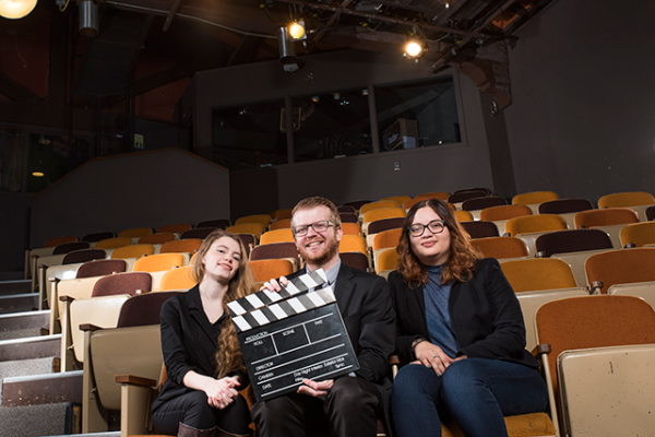 Student co-directors, from left, are film students Kira Hudson, Andrew Weisz, and Nairobys Apolito.