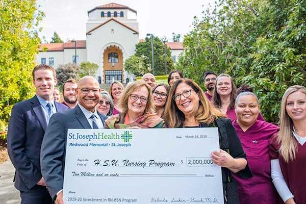Officials from St. Joseph Health, Humboldt County (SJH-HC), Humboldt State University, College of the Redwoods, and Senator Mike McGuire announced today that St. Joseph Health is making a $2 million grant to help re-launch the RN to BSN nursing program at