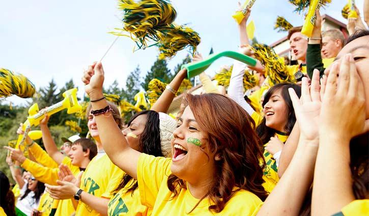 students cheering