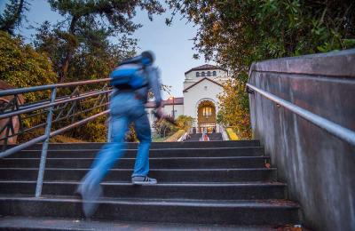 Climbing the stairs to Founders Hall