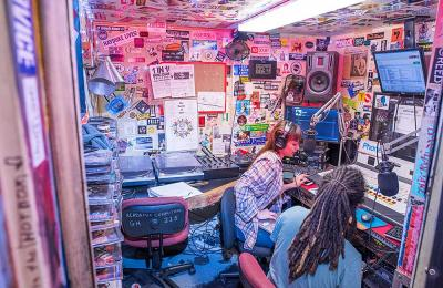 Journalism students get hands-on experience in the student-run radio station, KRFH FM