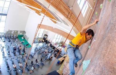 HSU's state-of-the-art rock climbing wall