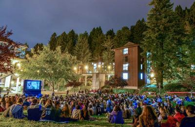 Movie night on Cypress lawn